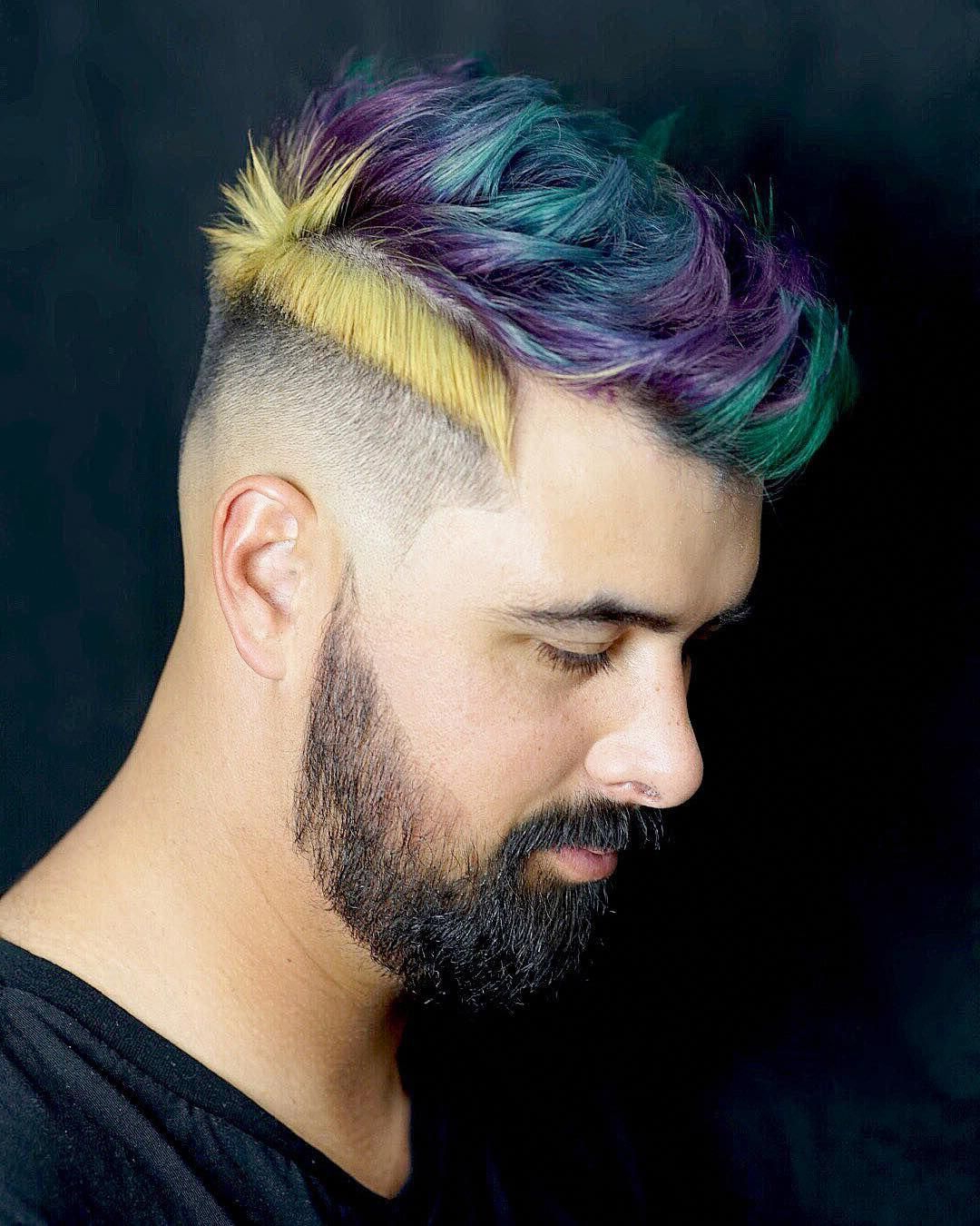 Well Known Steel Colored Mohawk Hairstyles With Regard To Parted Haircut + Multi Hair Color #menshaircutideas (View 20 of 20)