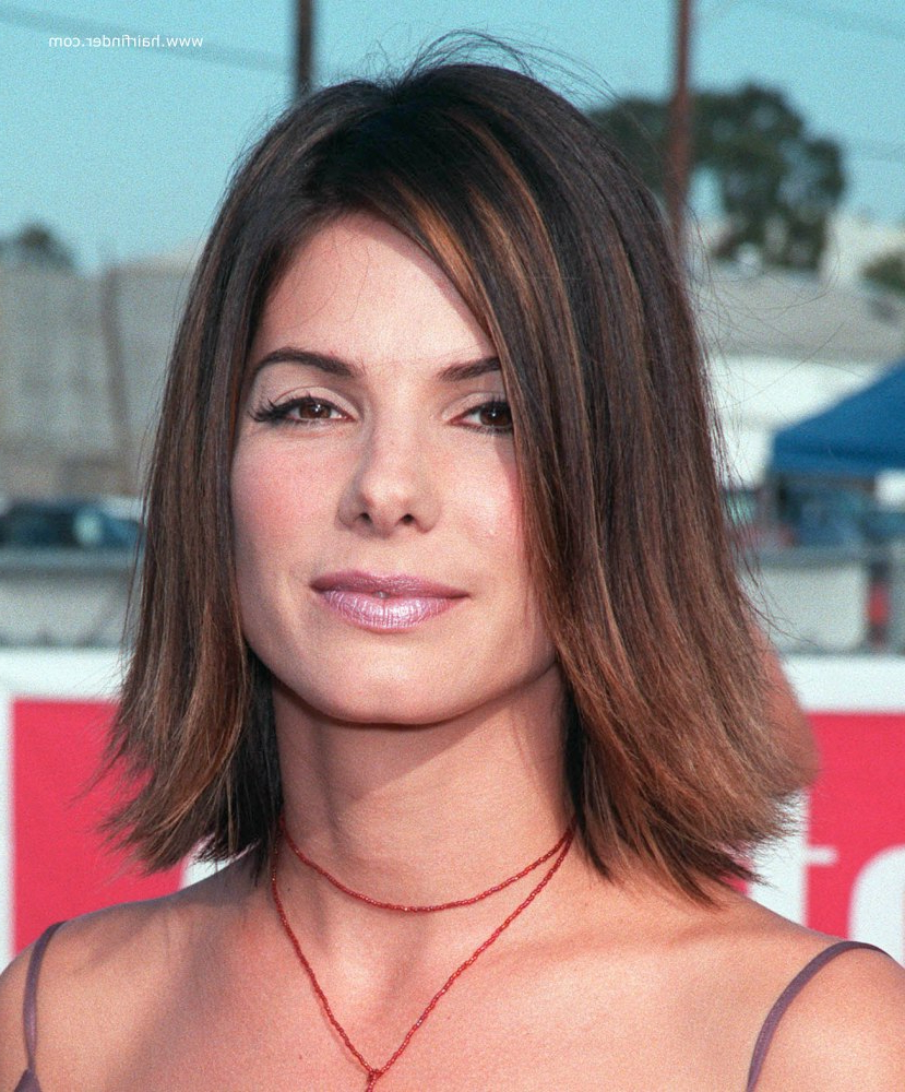 Well Liked Flipped Medium Hairstyles With Regard To Sandra Bullock (View 17 of 20)