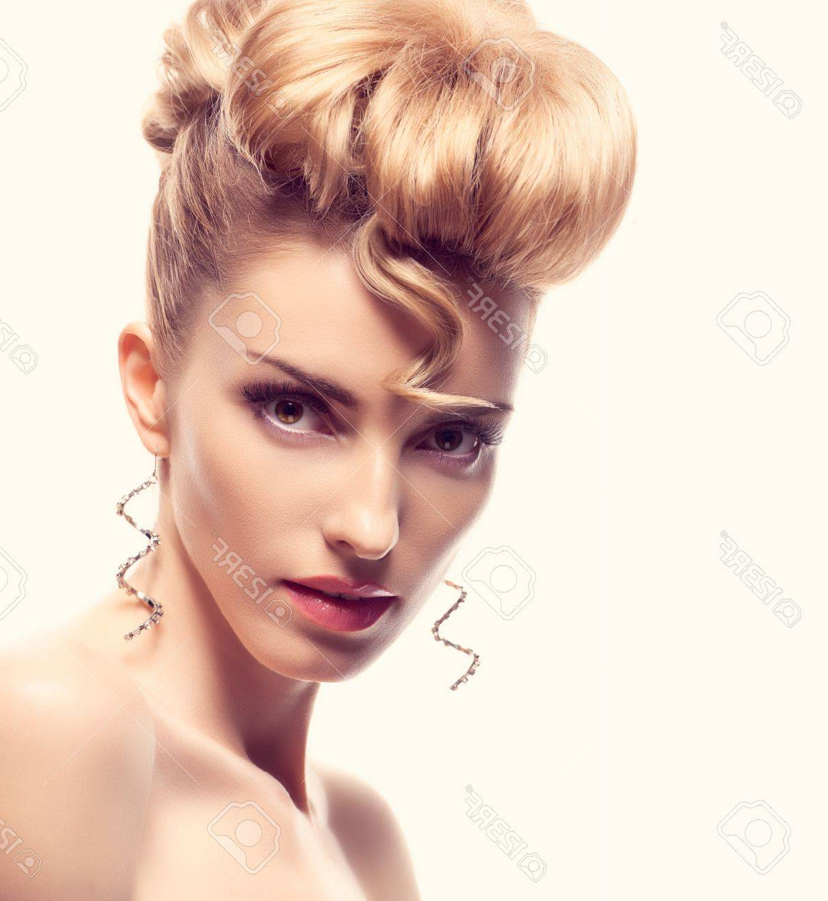 Widely Used Blonde Mohawk Hairstyles Intended For Fashion Natural Makeup. Beauty Woman With Mohawk Hairstyle (View 8 of 20)