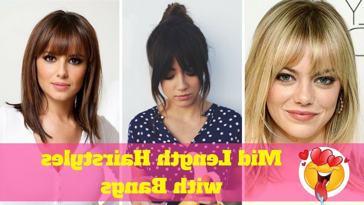 Widely Used Medium Hairstyles With A Fringe With Mid Length Hairstyles With Bangs (2018) – Hairstyles For Medium Hair (View 18 of 20)