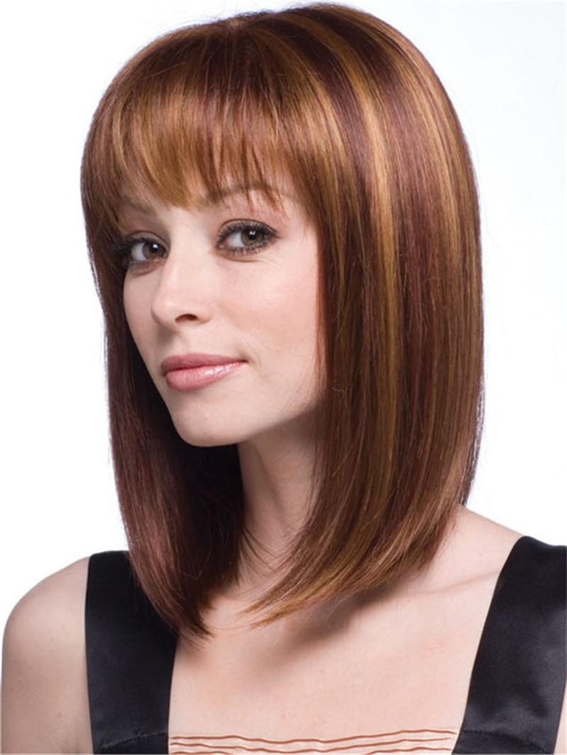 Widely Used Medium Hairstyles With Straight Bangs Pertaining To Natural Short Blonde Wig Medium Length Straight Hair Wigs Synthetic (View 14 of 20)