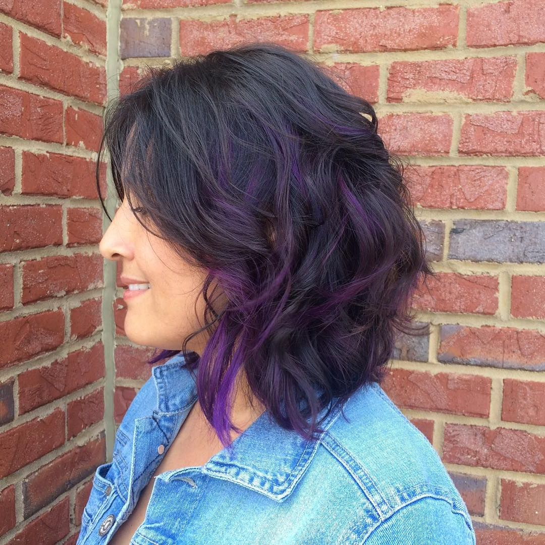 Widely Used Purple And Black Medium Hairstyles In Curly Lob With Purple Highlights (View 15 of 20)