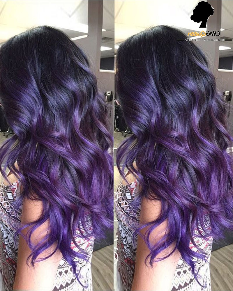 [%widely Used Purple And Black Medium Hairstyles In Sexy Wavy Style Purple Ombre High Quality Human Hair Lace Wig [imw19|sexy Wavy Style Purple Ombre High Quality Human Hair Lace Wig [imw19 In Recent Purple And Black Medium Hairstyles%] (View 14 of 20)