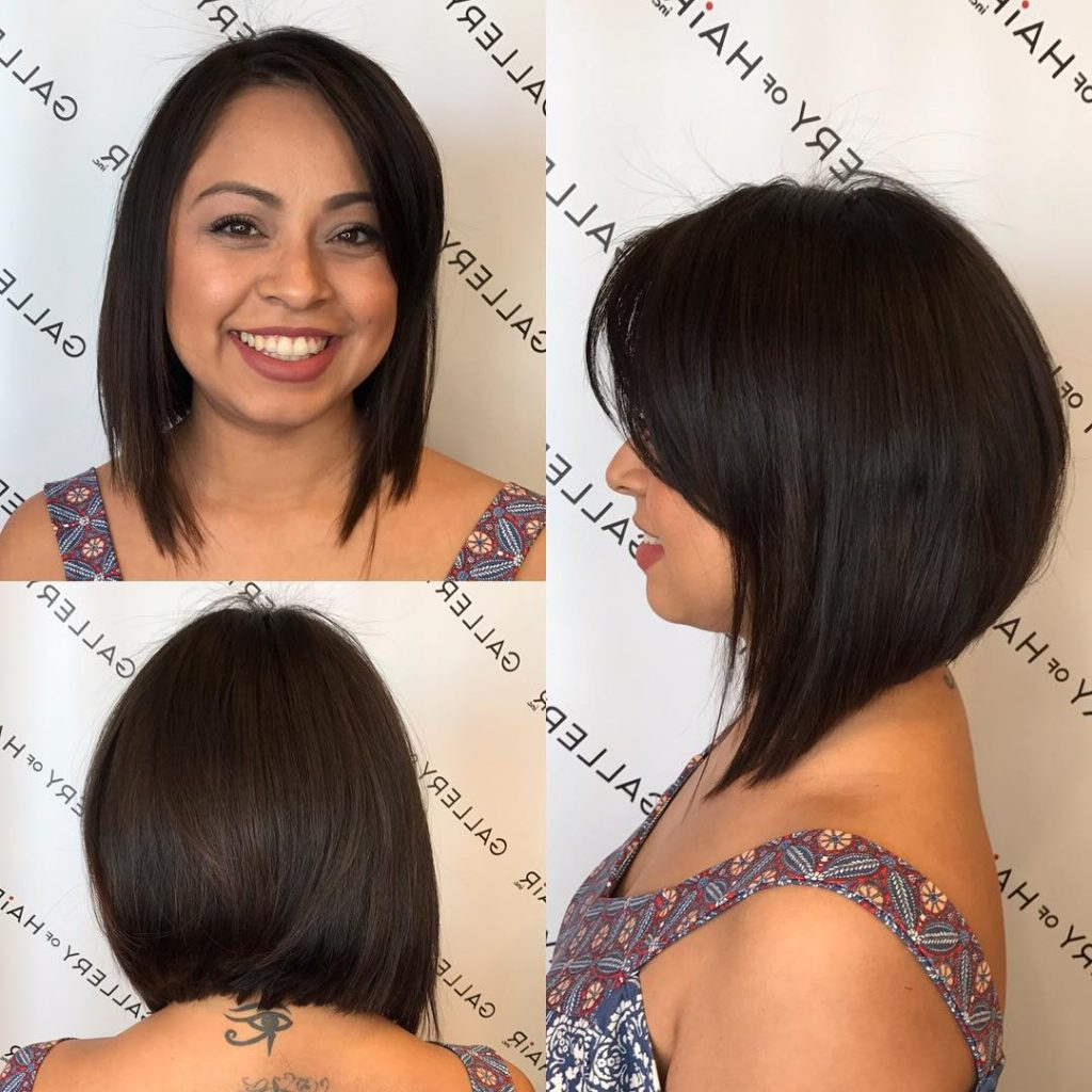 Widely Used Side Bangs Medium Hairstyles Intended For Women's Textured Brunette A Line Bob With Side Swept Bangs Medium (View 19 of 20)