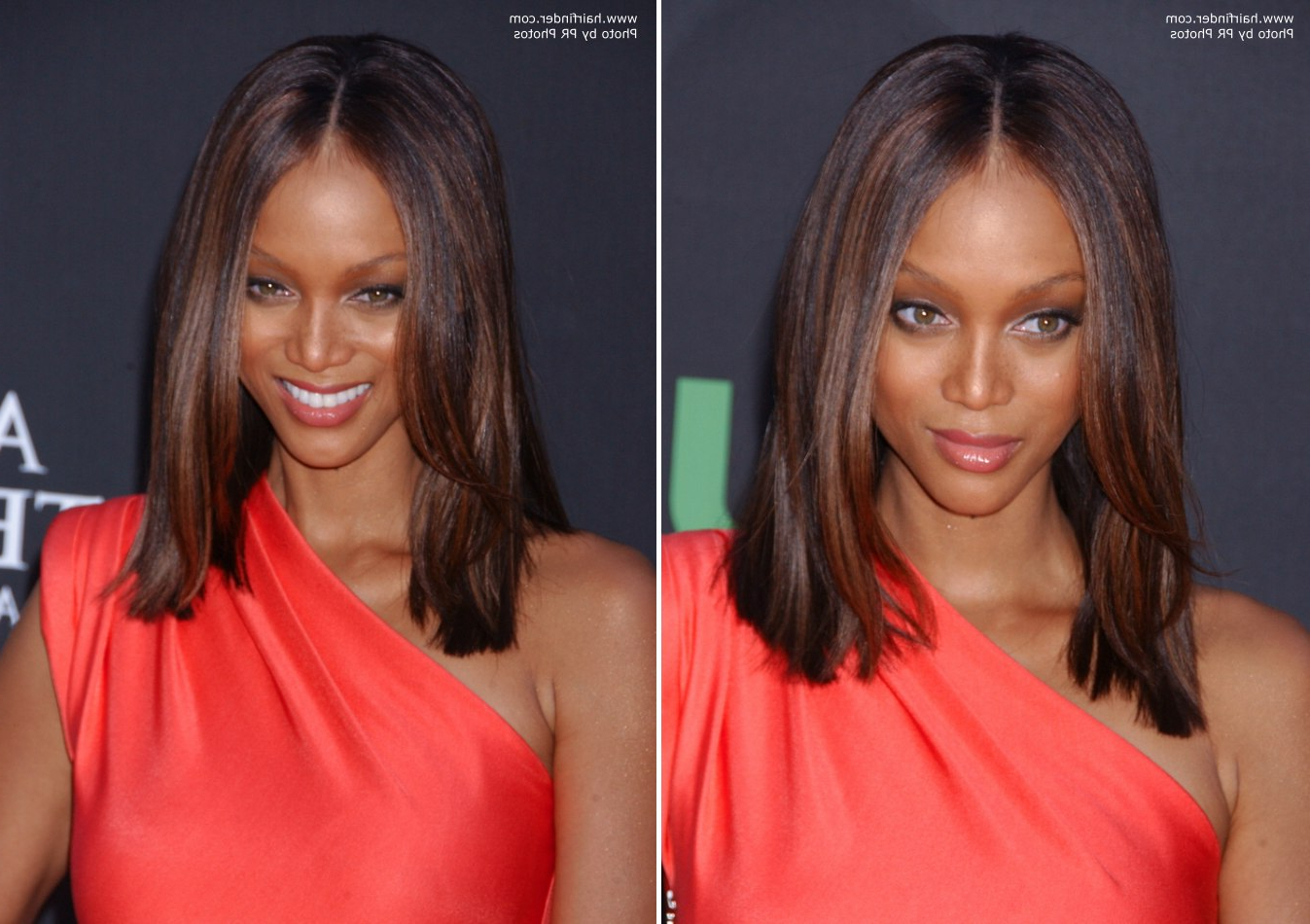 Widely Used Tyra Banks Medium Hairstyles Within Lori Loughlin's Windswept Hair That Nestles Closely Around Her (View 20 of 20)