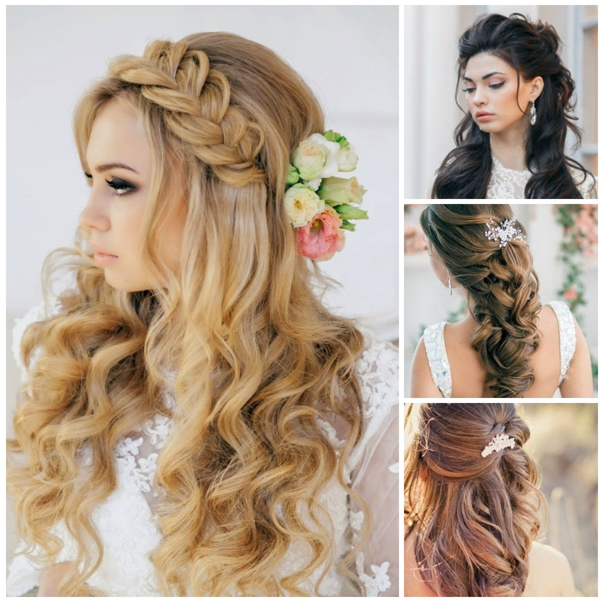 Women Hairstyle : Wedding Hairstyles For Long Hair With Flowers Throughout Well Known Half Short Half Medium Haircuts (View 6 of 20)