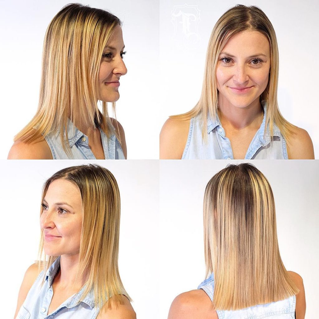 Women's Blonde Blunt Cut With Face Framing Layers And Shadow Roots In Most Popular Blunt Cut Medium Hairstyles (View 20 of 20)