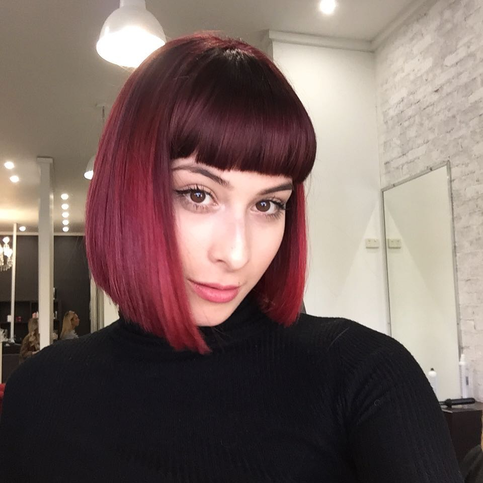 Women's Blunt Collapsed Bob With Full Blunt Bangs And Burgundy Ombre Pertaining To Newest Medium Hairstyles With Blunt Bangs (View 17 of 20)