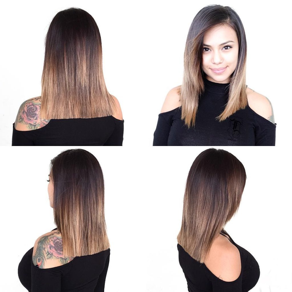 Women's Blunt Lob With Front Layers And Brunette Ombre Medium Length With Well Liked Blunt Medium Hairstyles (View 20 of 20)