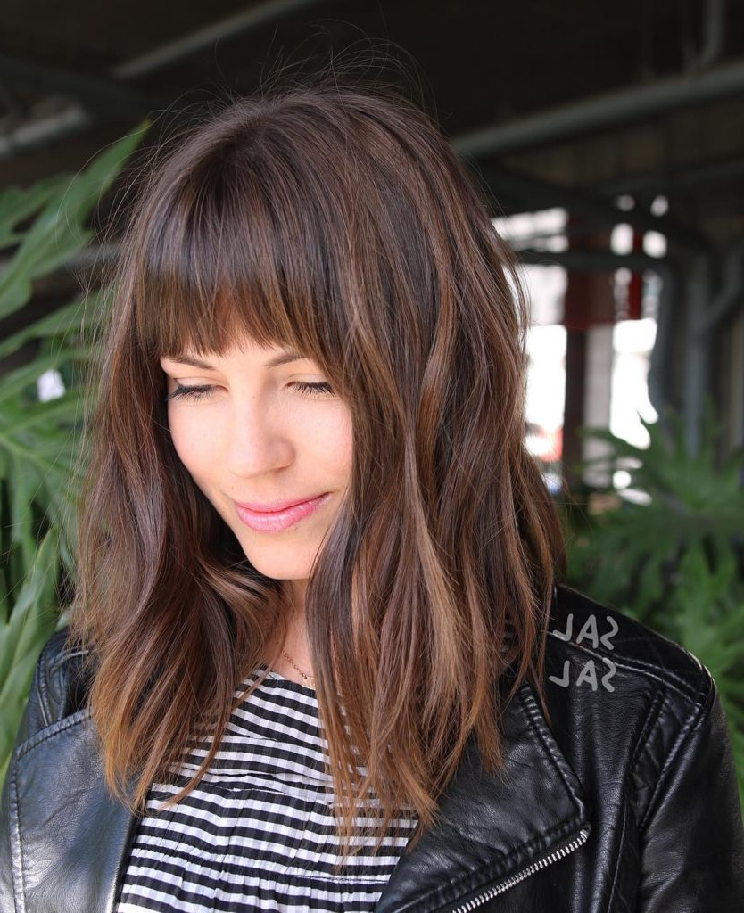 Women's Layered Brunette A Line Lob With Fringe Bangs And Highlights Inside Popular Medium Hairstyles With Fringe And Layers (View 20 of 20)