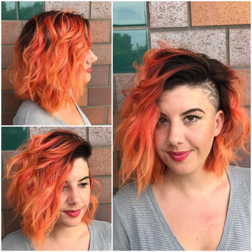 Women's Messy Side Swept Wavy Bob With Orange Ombre Color And Shaved Regarding Well Known Medium Hairstyles With Shaved Side (View 20 of 20)