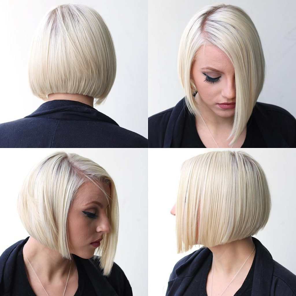 Women's Platinum Shaped Bob With Clean Lines And Side Part Short Throughout Preferred Platinum Layered Side Part Hairstyles (View 19 of 20)