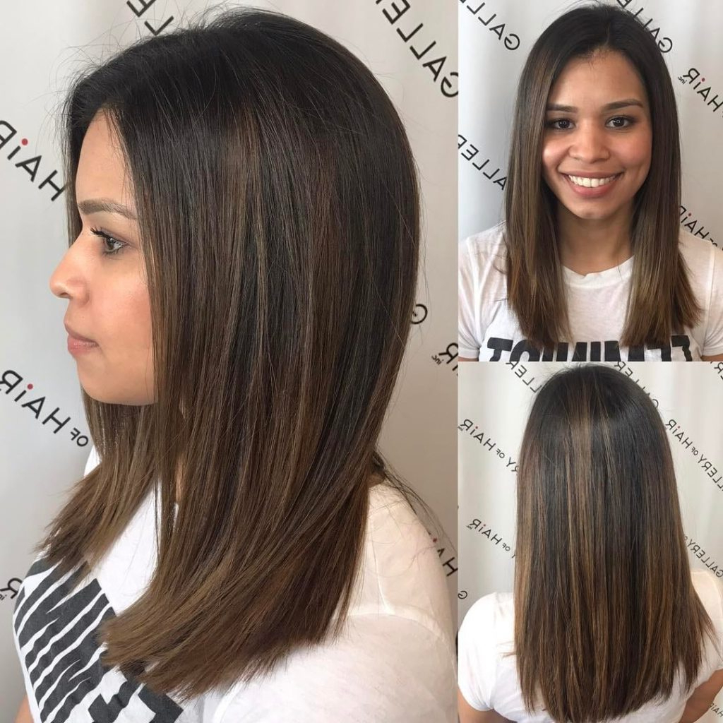 Women's Sleek Cut With Subtle Layers And Brunette Balayage Medium Pertaining To Widely Used Medium Hairstyles With Balayage (View 20 of 20)
