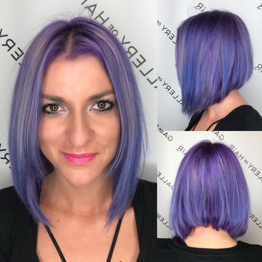 Women's Slightly Angled Bob With Face Framing Layers And Purple Throughout Well Liked Medium Angled Purple Bob Hairstyles (View 5 of 20)