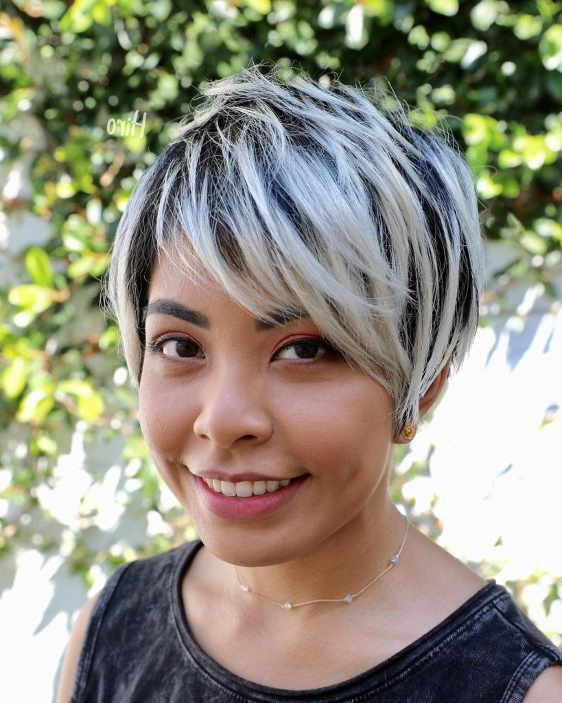 Women's Textured Long Layered Pixie With Asymmetrical Side Swept With Regard To Trendy Platinum Layered Side Part Hairstyles (View 20 of 20)