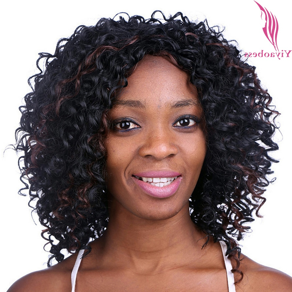 Yiyaobess 35Cm Medium Length Hairstyles Curly Wigs For Black Women With Regard To Newest Curly Medium Hairstyles For Black Women (View 20 of 20)