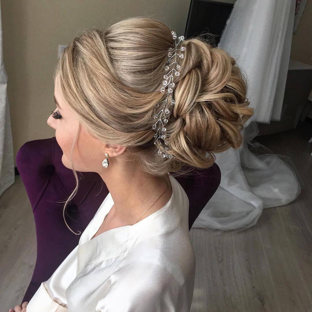 10 Lavish Wedding Hairstyles For Long Hair – Wedding Hairstyle Ideas Regarding Popular Embellished Caramel Blonde Chignon Bridal Hairstyles (View 2 of 20)