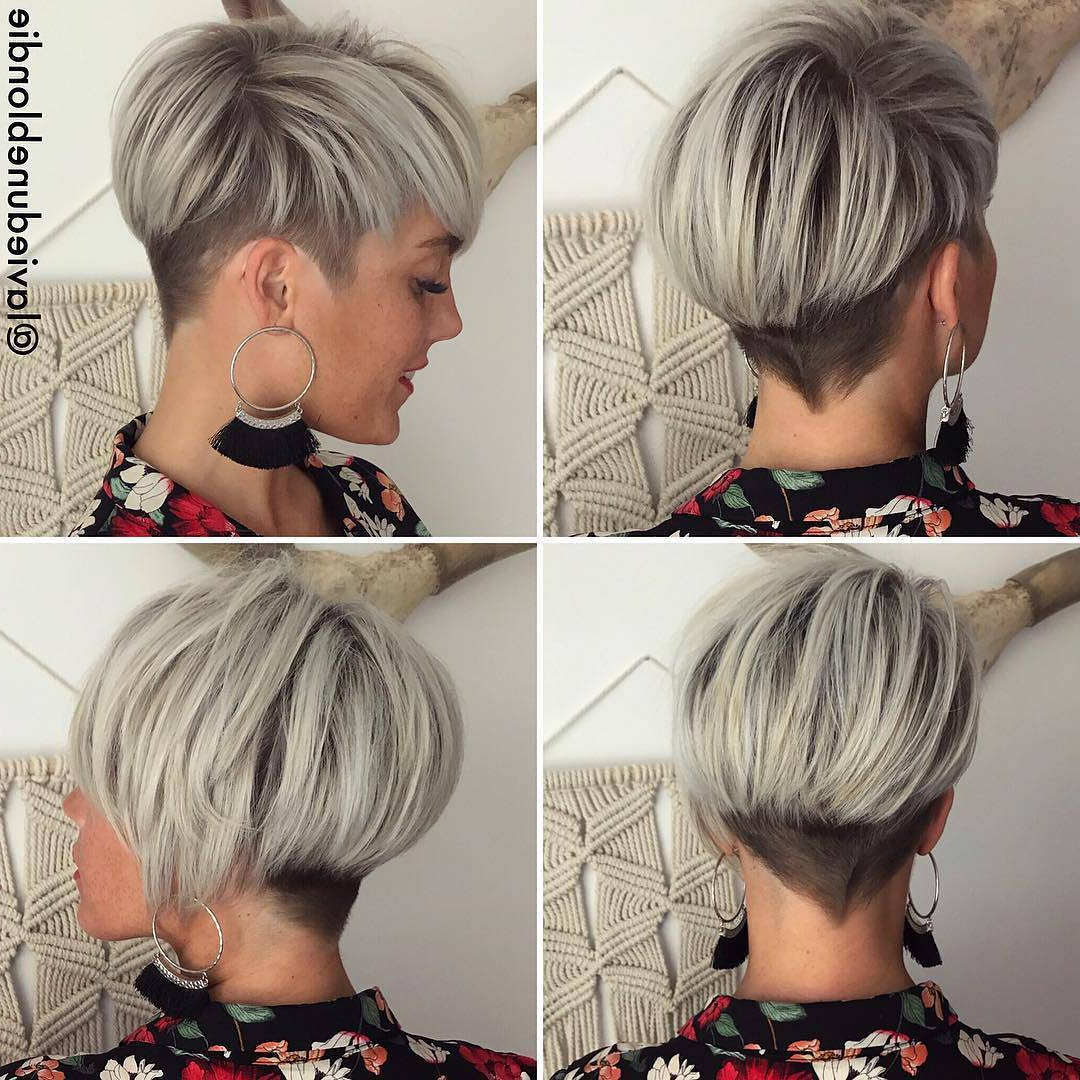 10 Long Pixie Haircuts For Women Wanting A Fresh Image, Short Hair For 2018 Curly Ash Blonde Updo Hairstyles With Bouffant And Bangs (View 16 of 20)