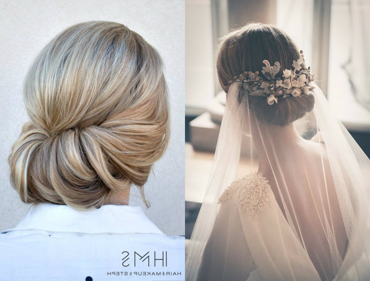 11 Beautiful Veils To Match Your Bridal Hairstyle Intended For Best And Newest Messy French Roll Bridal Hairstyles (Gallery 15 of 20)