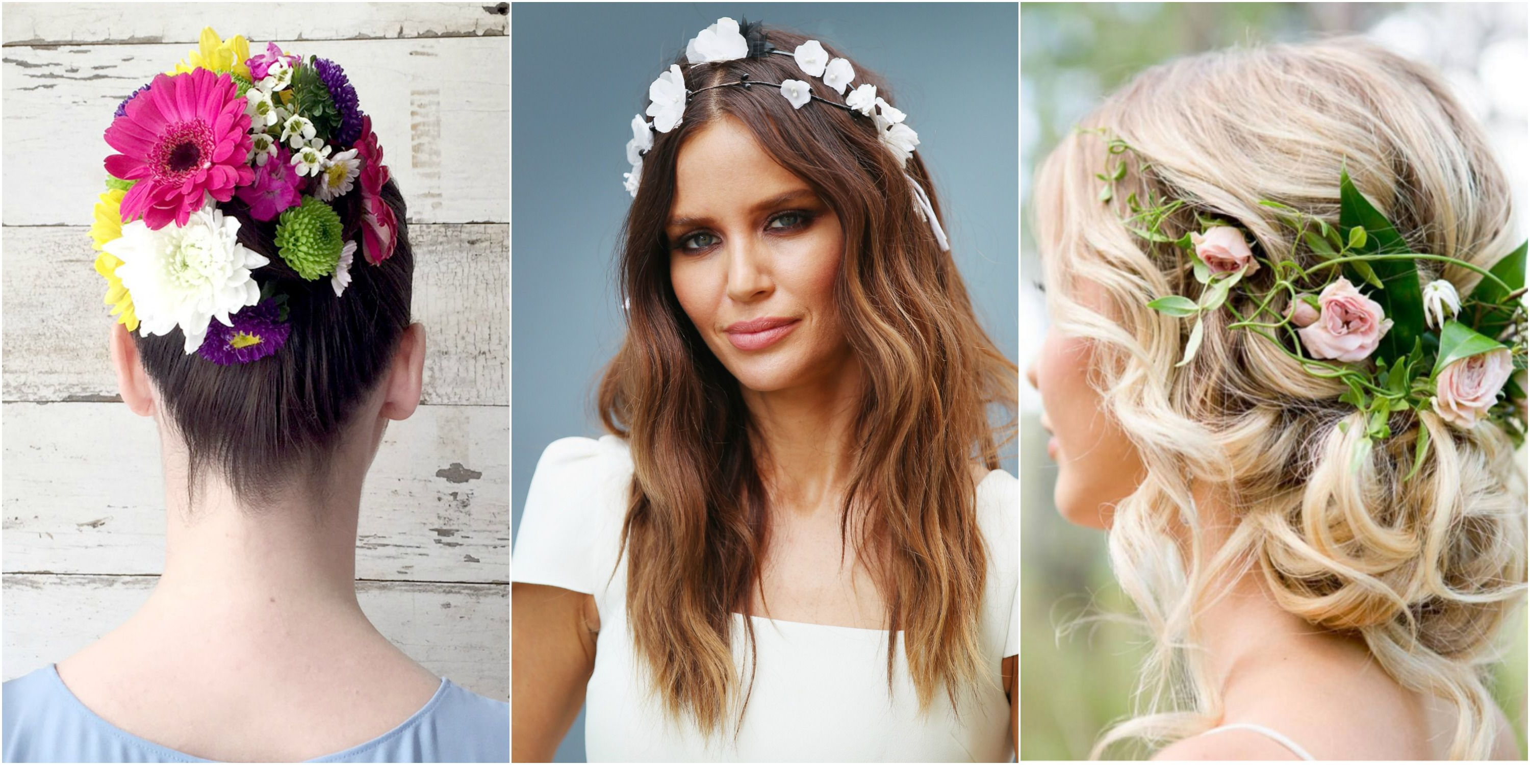 12 Pretty Flower Crowns And Floral Hairstyles — Flower Hairstyles With Regard To Most Current Floral Crown Half Up Half Down Bridal Hairstyles (View 1 of 20)