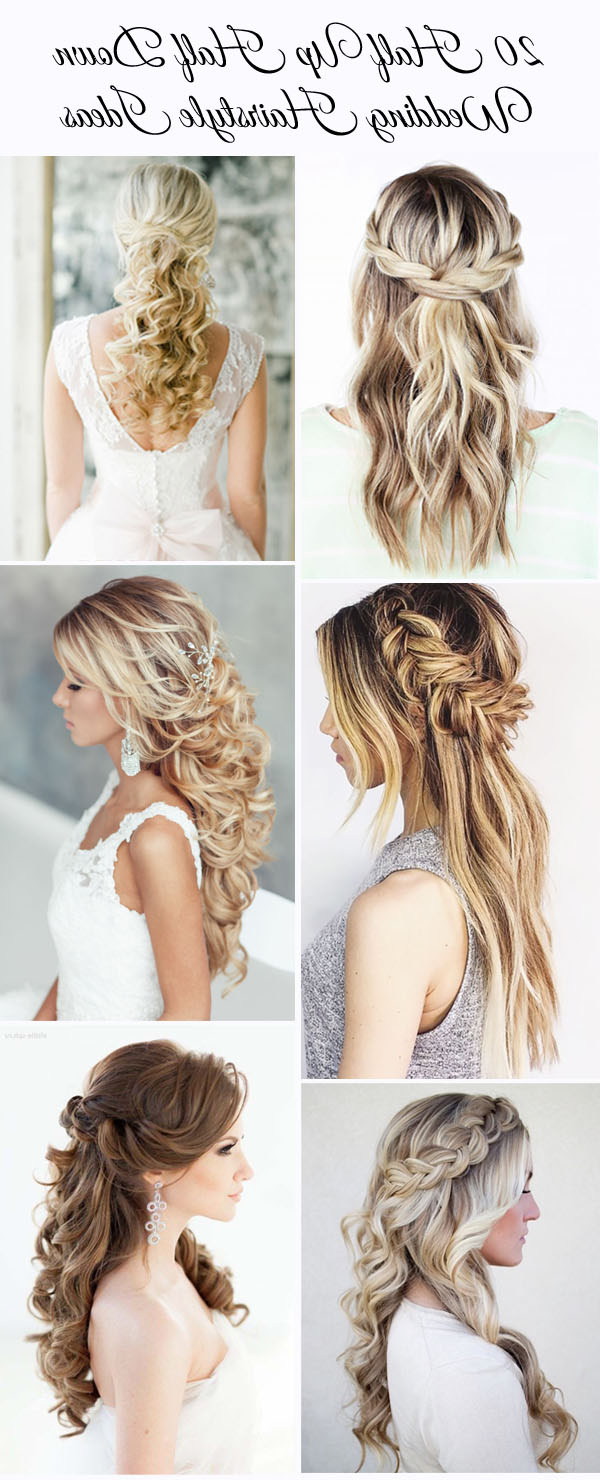20 Awesome Half Up Half Down Wedding Hairstyle Ideas With Latest Half Up Wedding Hairstyles With Jeweled Clip (Gallery 7 of 20)