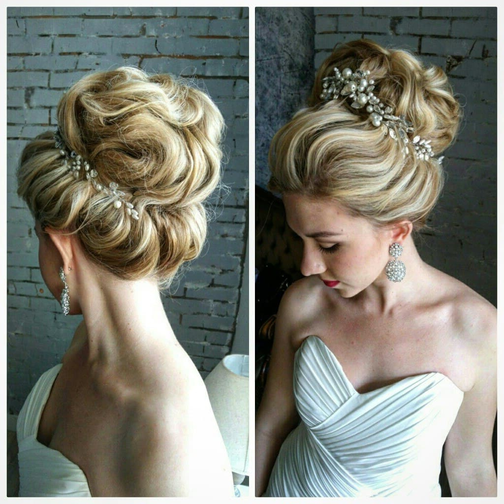 20 Stunning Wedding Hair Updos To Inspire Every Bride – Hairstylevill Pertaining To Current Swirled Wedding Updos With Embellishment (View 12 of 20)