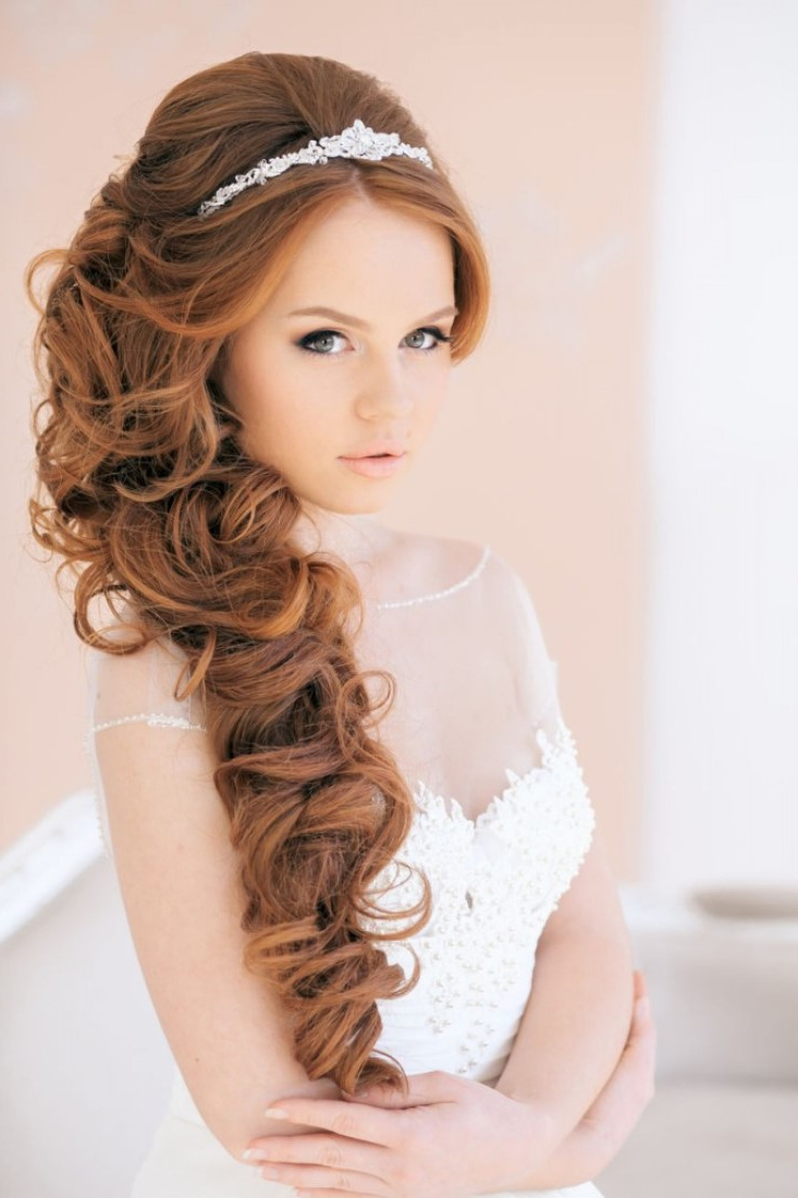 20 Wedding Hairstyles With Tiara Ideas – Wohh Wedding With Most Popular Long Curly Bridal Hairstyles With A Tiara (View 1 of 20)