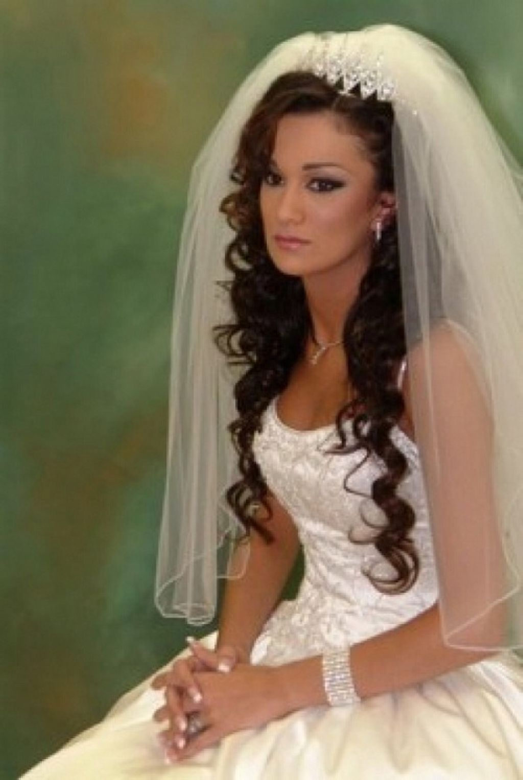 2017 Side Curls Bridal Hairstyles With Tiara And Lace Veil Throughout 20 Wedding Hairstyles With Tiara Ideas (View 2 of 20)