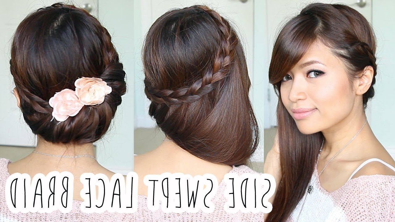 2017 Side Lacy Braid Bridal Updos In Fold Over Lace Braid Updo Hairstyle Hair Tutorial – Youtube (Gallery 2 of 20)