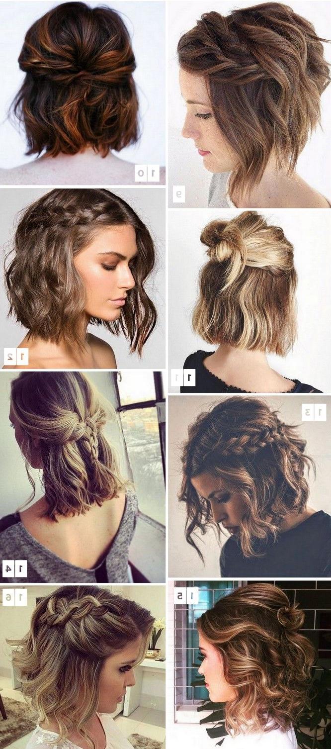 2017 Simple Halfdo Wedding Hairstyles For Short Hair With Regard To 16 Penteados Para Cabelos Curtos Populares No Pinterest (View 6 of 20)