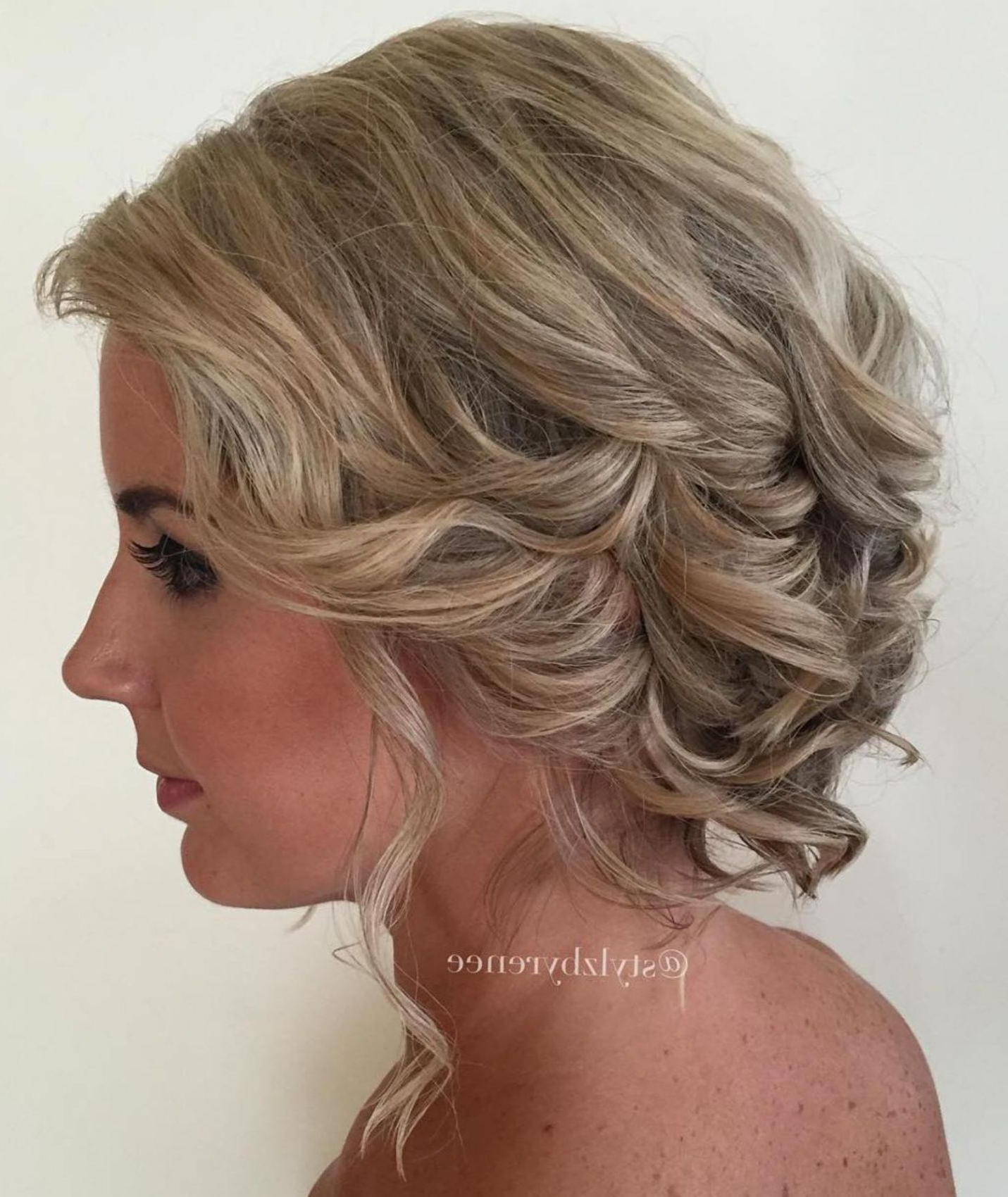 2017 Wavy And Wispy Blonde Updo Wedding Hairstyles Within 60 Updos For Short Hair – Your Creative Short Hair Inspiration (Gallery 4 of 20)