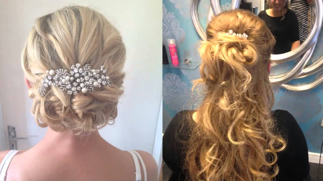 2017 Wedding Semi Updo Bridal Hairstyles With Braid Throughout Wedding Guest Hair Updos With Fringe Hairdresser Longfield Kent (View 11 of 20)