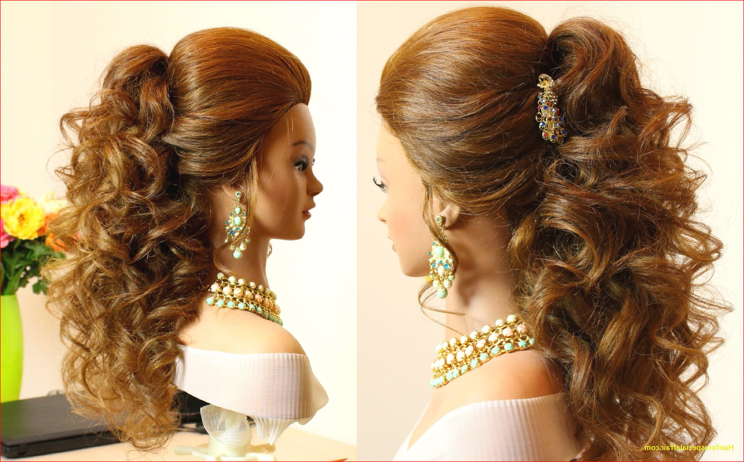 2018 Formal Curly Updos With Bangs For Wedding Intended For Easy Hairstyles For Long Curly Hair Easy Prom Hairstyles For Long (View 4 of 20)