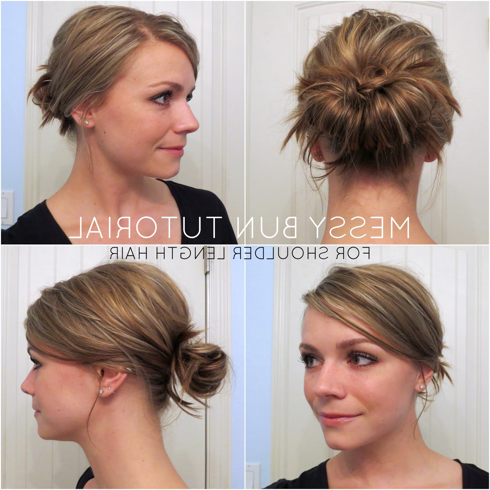 2018 Messy Bun Wedding Hairstyles For Shorter Hair Intended For Bye Bye Beehive │ A Hairstyle Blog: Messy Bun For Shoulder Length Hair (View 4 of 20)