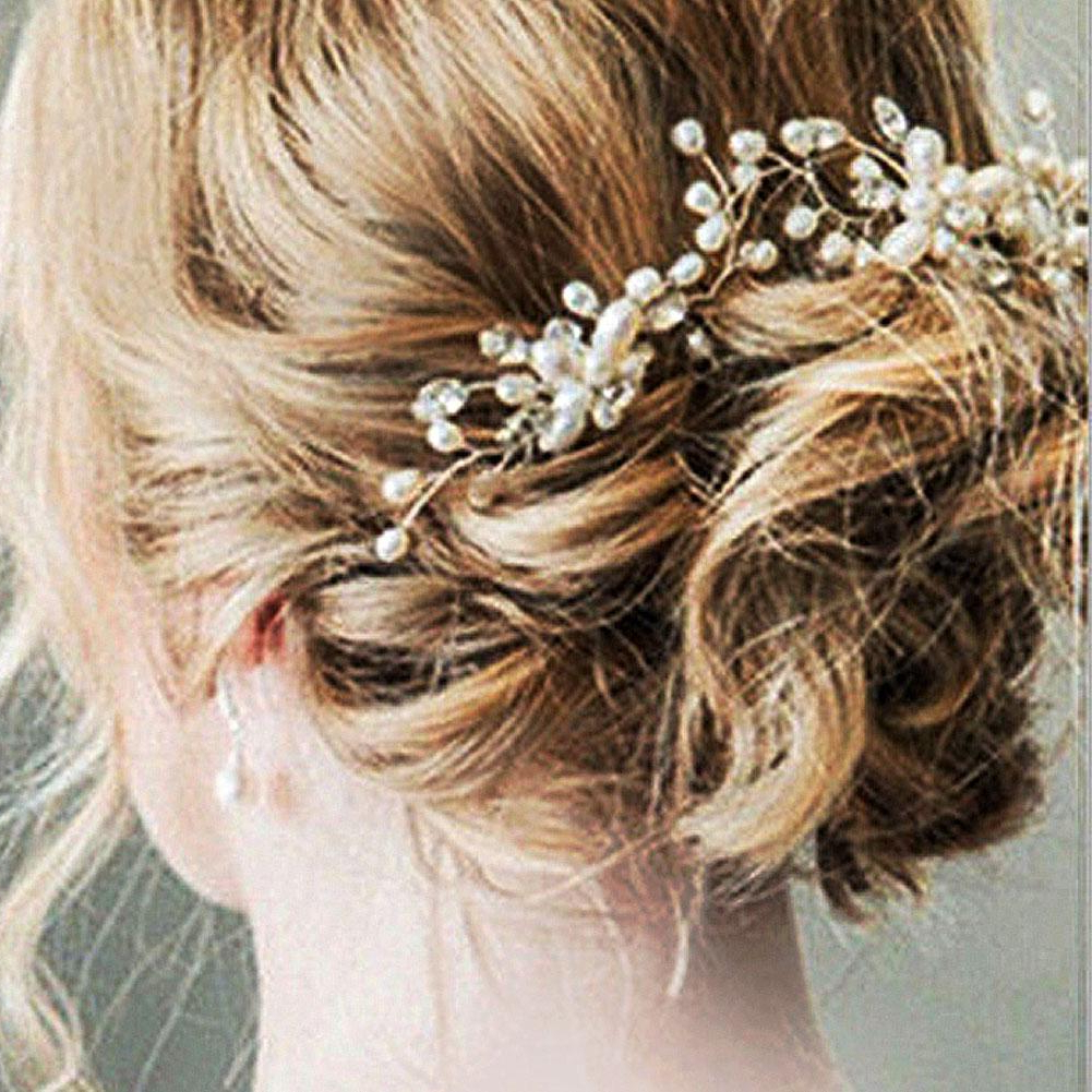 2018 New Bridal Wedding Pearl Beaded Hair Pins Crystal Hair Clips Pertaining To Famous Large Curly Bun Bridal Hairstyles With Beaded Clip (Gallery 11 of 20)