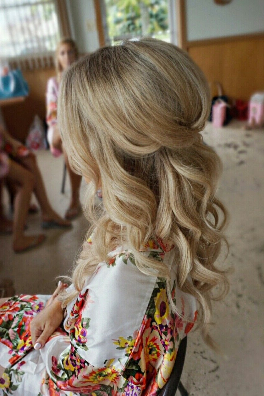 2018 Semi Bouffant Bridal Hairstyles With Long Bangs With Pretty Half Up With Curls And Volume – Bridal Hair (Gallery 1 of 20)