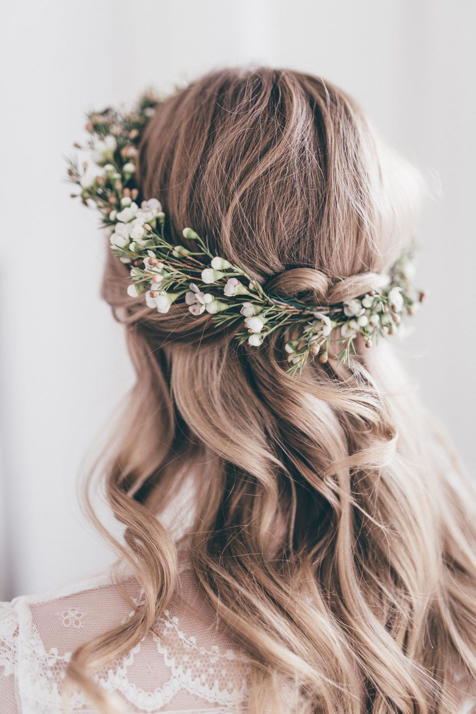 2018 Tied Back Ombre Curls Bridal Hairstyles Throughout Botanical Styled Shoot (View 2 of 20)