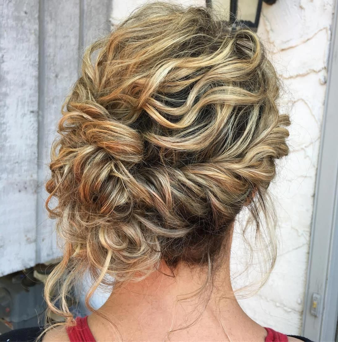 2018 Tousled Asymmetrical Updo Wedding Hairstyles Throughout Messy Wavy Asymmetrical Updo #mediumlengthweddinghairstyles (View 4 of 20)
