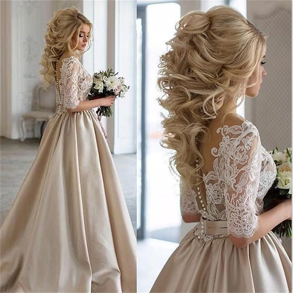 2019 Charming New Arrival Half Sleeves Lace Top Soft Beautiful Intended For Fashionable Sleek And Big Princess Ball Gown Updos For Brides (View 1 of 20)