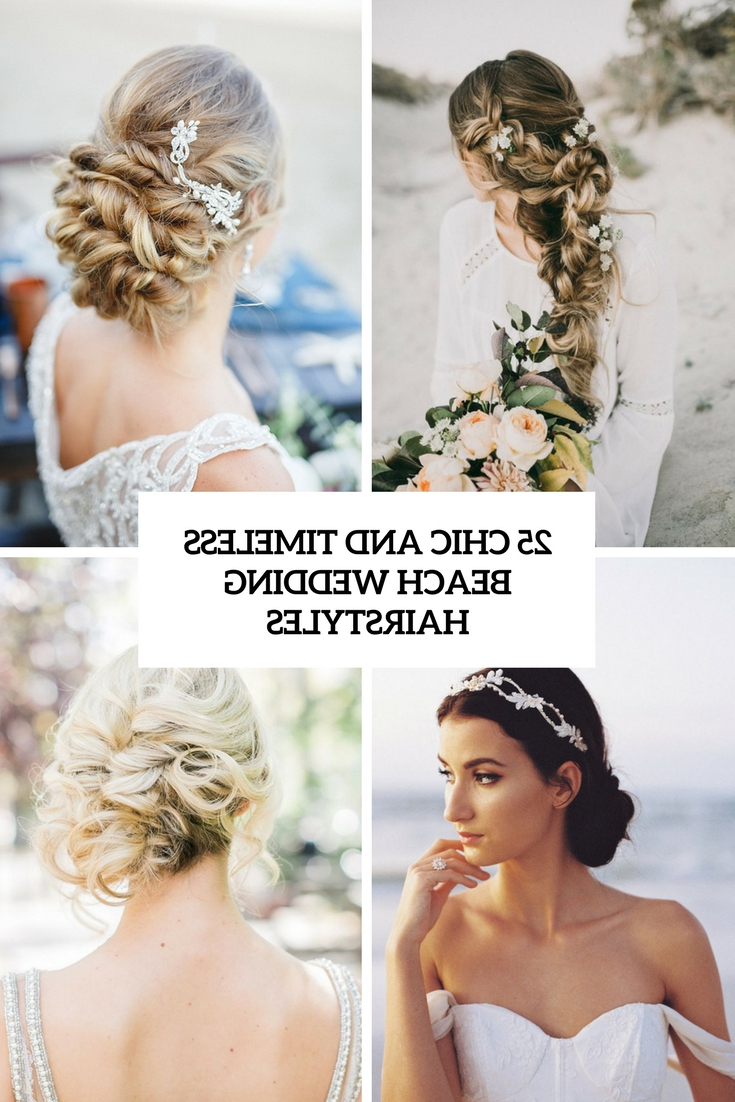 25 Chic And Timeless Beach Wedding Hairstyles – Weddingomania For Most Up To Date Veiled Bump Bridal Hairstyles With Waves (View 2 of 20)