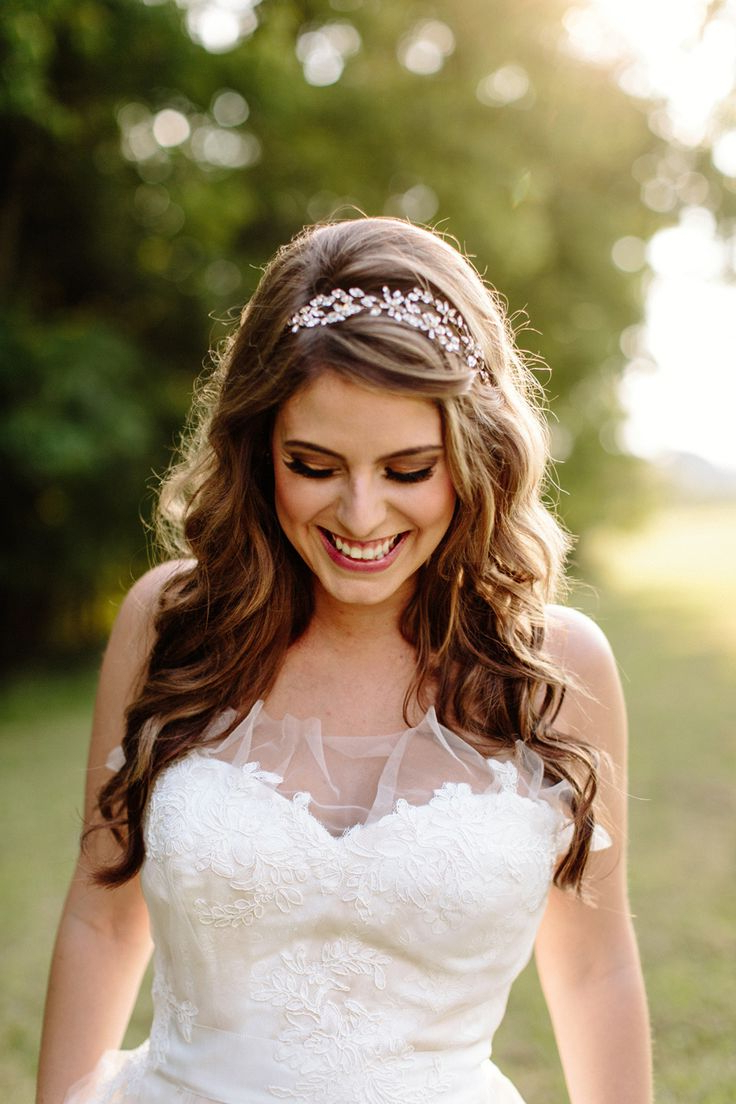 25 Most Coolest Wedding Hairstyles With Headband – Haircuts Intended For Trendy Long Curly Bridal Hairstyles With A Tiara (Gallery 6 of 20)