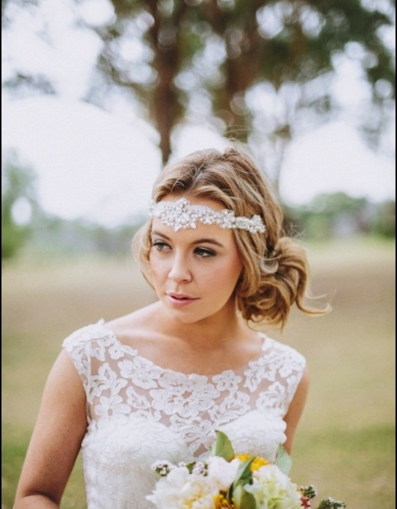 25 Most Coolest Wedding Hairstyles With Headband – Haircuts Intended For Well Known High Updos With Jeweled Headband For Brides (Gallery 15 of 20)