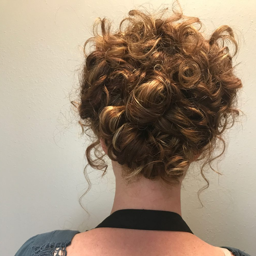 27 Curly Updos For Curly Hair (See These Cute Ideas For 2019) With Famous Curly Messy Updo Wedding Hairstyles For Fine Hair (View 11 of 20)