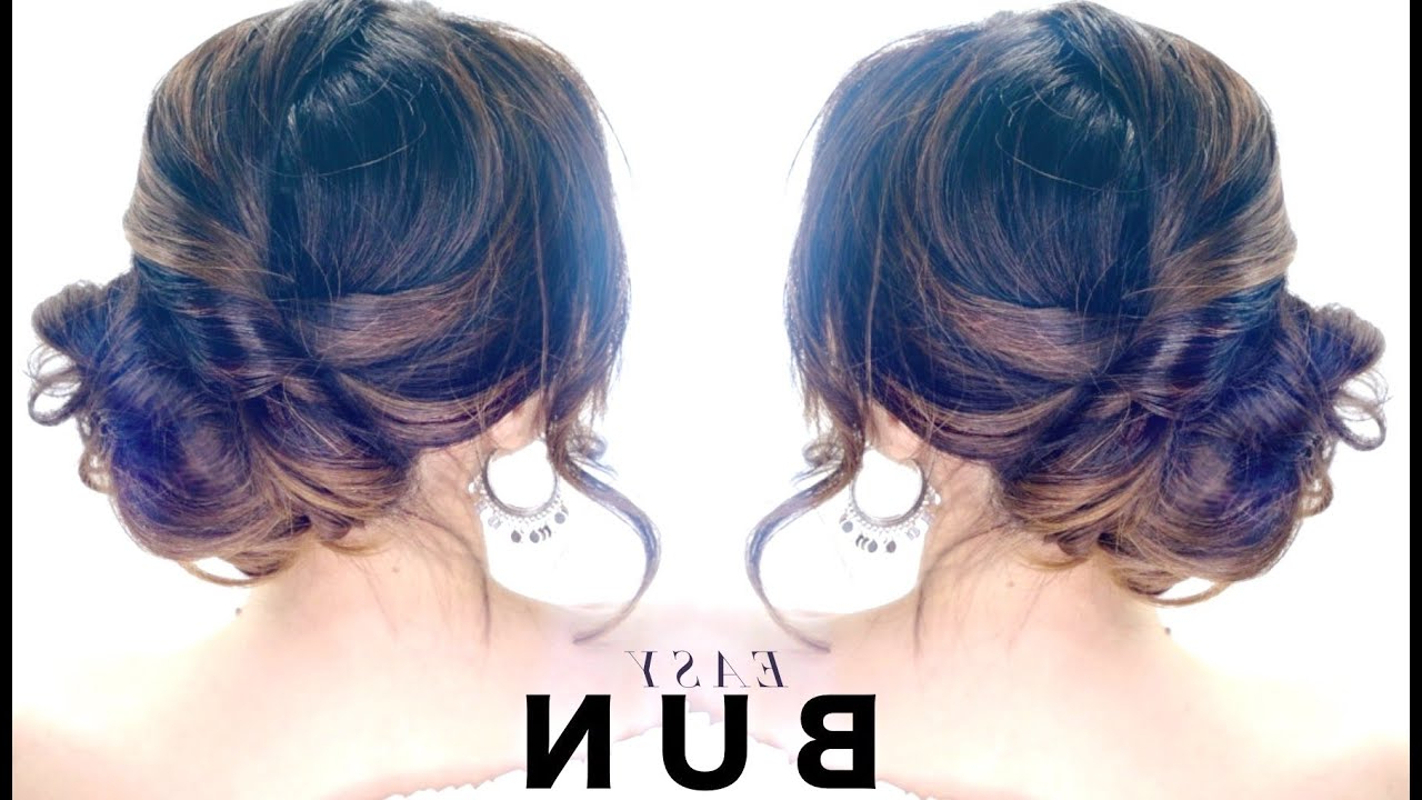 3 Minute Elegant Side Bun Hairstyle ☆ Easy Summer Updo Hairstyles Within Current Fabulous Cascade Of Loose Curls Bridal Hairstyles (Gallery 20 of 20)