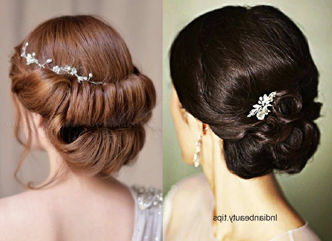 30 Elegant Bridal Updo Hairstyles – Indian Beauty Tips Within 2017 Messy Bridal Updo Bridal Hairstyles (Gallery 9 of 20)