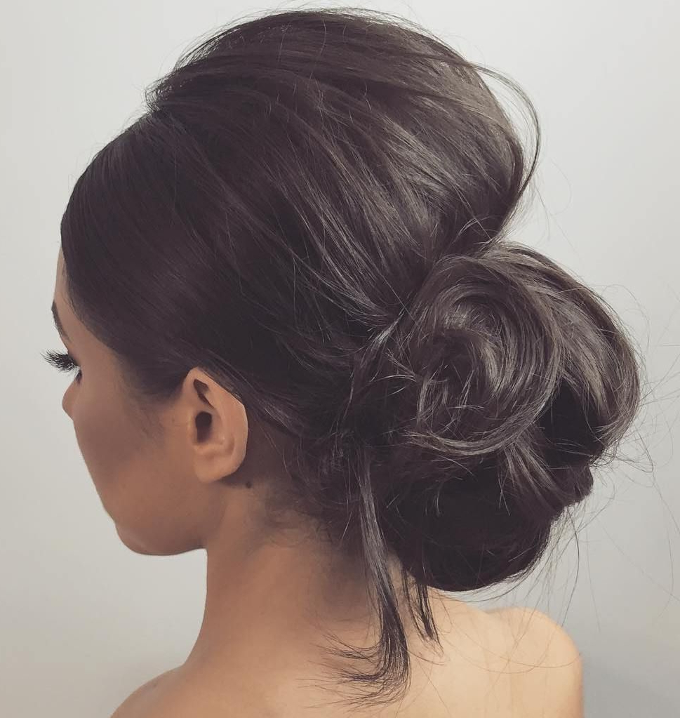 40 Irresistible Hairstyles For Brides And Bridesmaids In 2018 Intended For Trendy Bouffant And Chignon Bridal Updos For Long Hair (View 6 of 20)