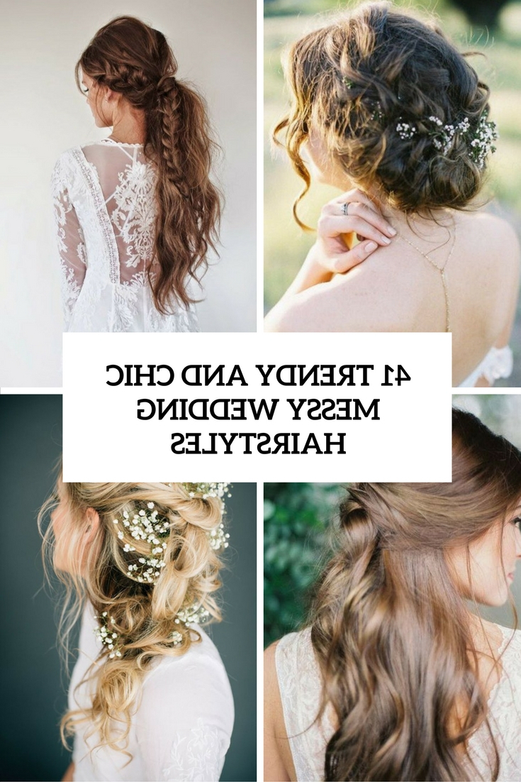 41 Trendy And Chic Messy Wedding Hairstyles – Weddingomania With Best And Newest Highlighted Braided Crown Bridal Hairstyles (Gallery 6 of 20)