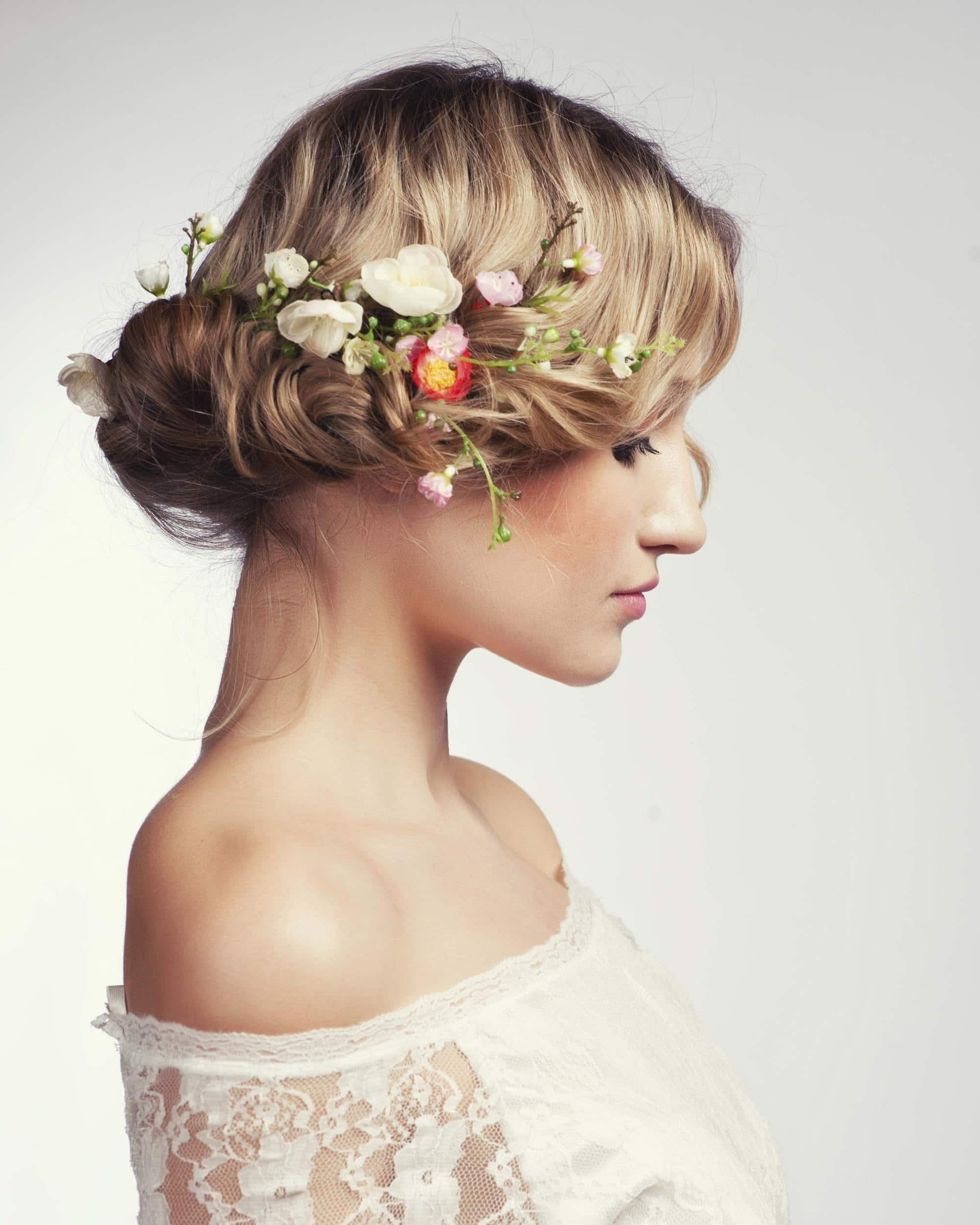 20 Best of Undone Low Bun Bridal Hairstyles With Floral Headband