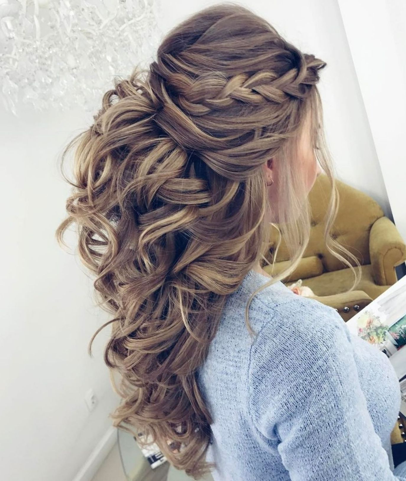 50 Half Updos For Your Perfect Everyday And Party Looks In 2019 In Latest Curly Wedding Updos With A Bouffant (Gallery 1 of 20)