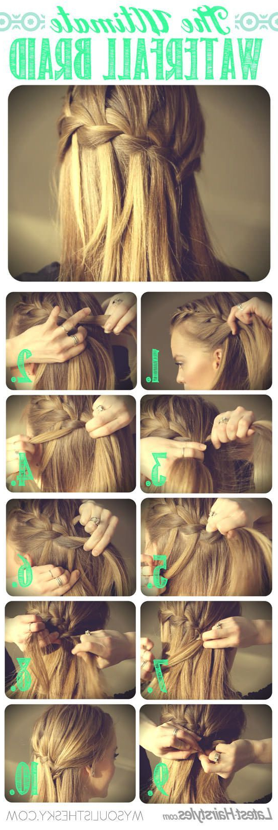 Amber Morris (19Kiara99) On Pinterest Throughout Most Popular Simplified Waterfall Braid Wedding Hairstyles (View 11 of 20)